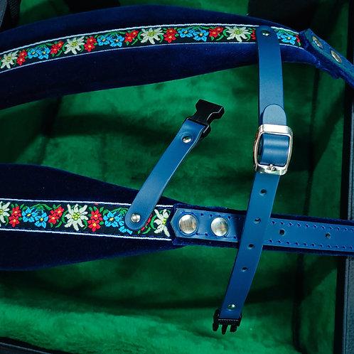 "Accordion Straps, ""Steirische"" Style Leather & Velvet, Blue with Flowers"