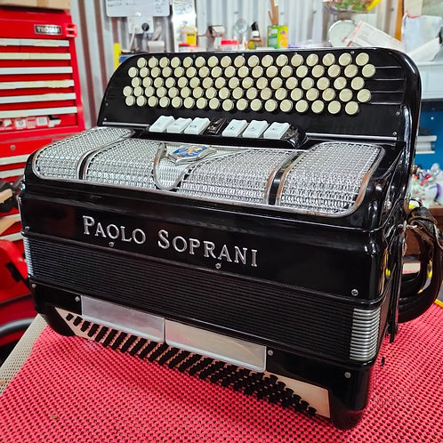 Paolo Soprani Chromatic Button Accordion, 5 Row/120 Bass, LMM, C-system, Black.