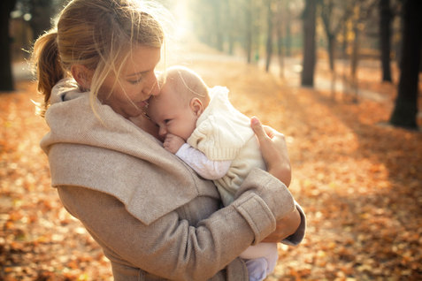Mother and Baby in Fall