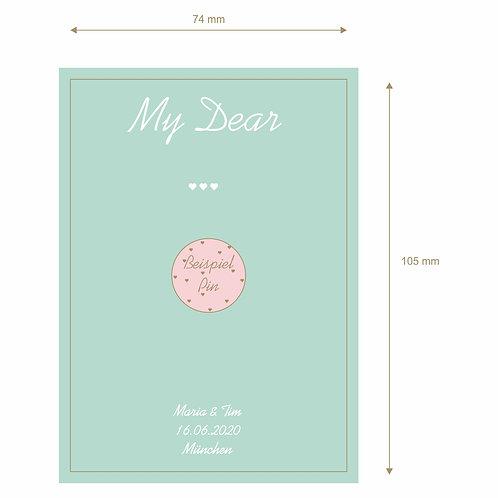 "Designkarton ""My Dear"" mit Namen, Datum, Ort"