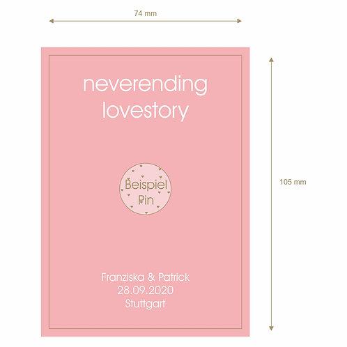 """Designkarton """"Neverending Lovestory"""" mit Namen, Datum,Ort"""