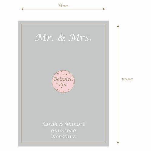 """Designkarton """"Mr. & Mrs."""" mit Namen, Datum,Ort"""