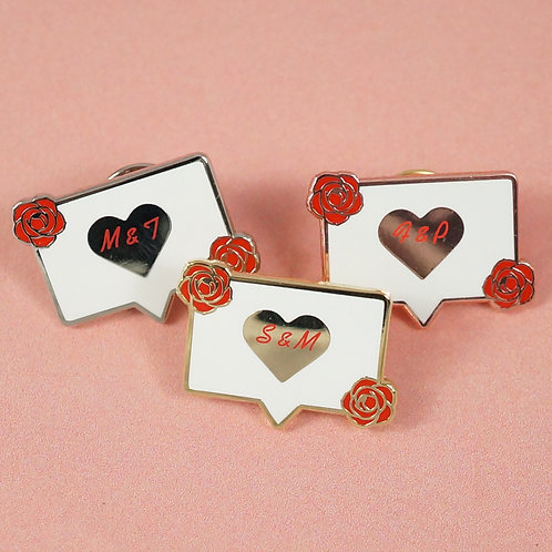 """Hart-Emaille Pin """"I Like"""" mit individuellen Initialen"""