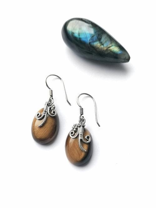 Silver & tigers eye detailed earrings