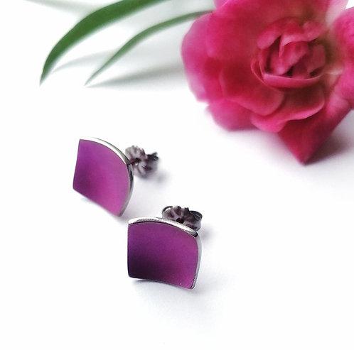 Titanium square purple stud earrings