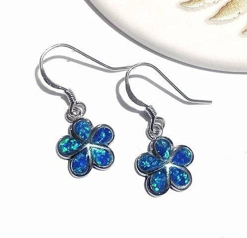 Silver & opalite flower earrings