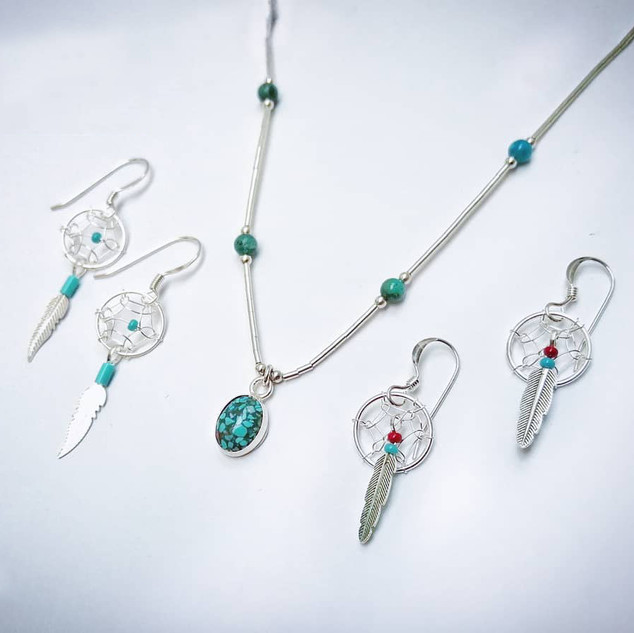 Silver Navajo dreamcatcher earrings & Turquoise necklace.