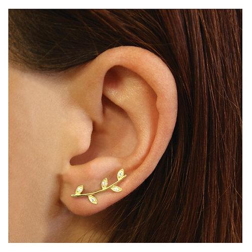 Silver & gold vermeil leaf ear climbers