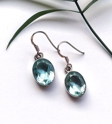 Silver & blue faceted crystal drop earrings