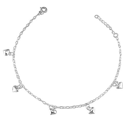 Silver dangling hearts anklet