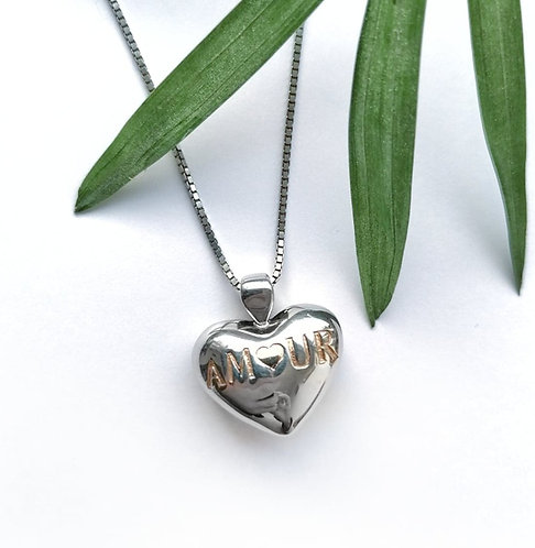 Silver Amour heart necklace