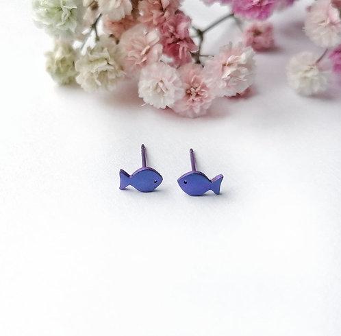 Titanium mini purple fish stud earrings