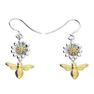 Silver daisy & bee earrings
