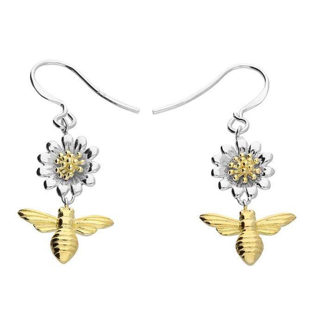 Silver daisy & bee earrings