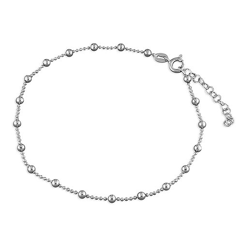 Silver round bead anklet