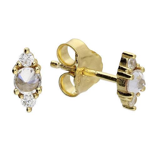 Silver & gold vermeil multi crystal studs