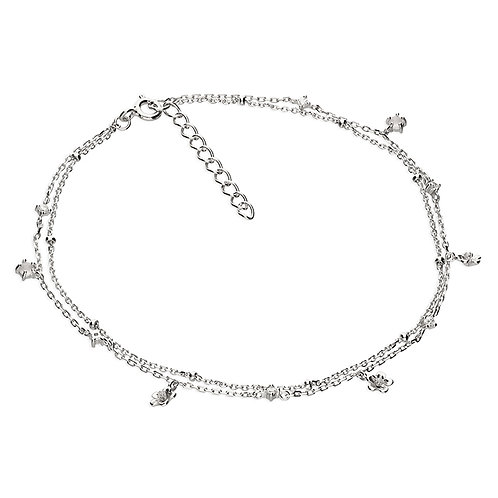 Silver double strand crystal flower anklet