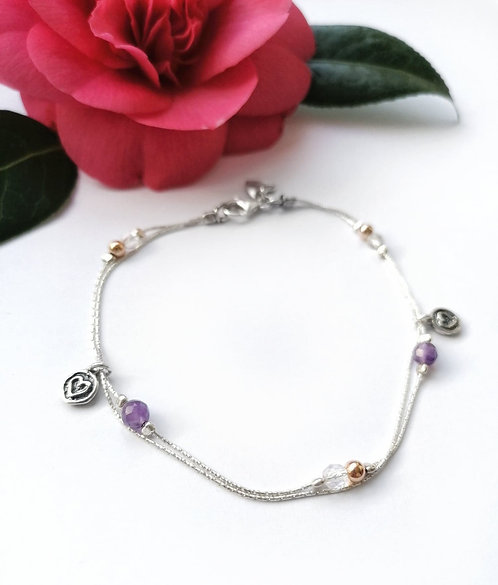 Luxury silver & amethyst anklet with gold & heart details