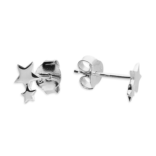 Silver double star studs