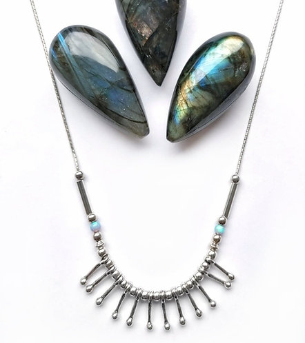 Silver & opalite contemporary necklace
