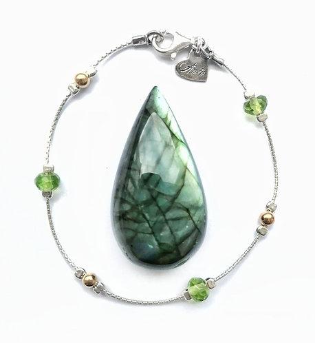 Silver & gold vermeil green crystal bracelet
