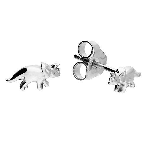 Silver mini triceratops stud earrings