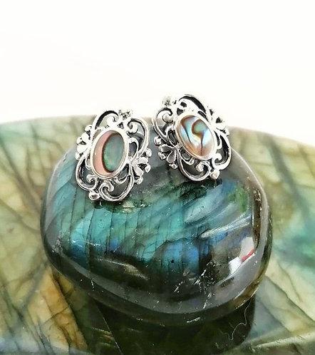 Silver & abalone shell detail stud earrings
