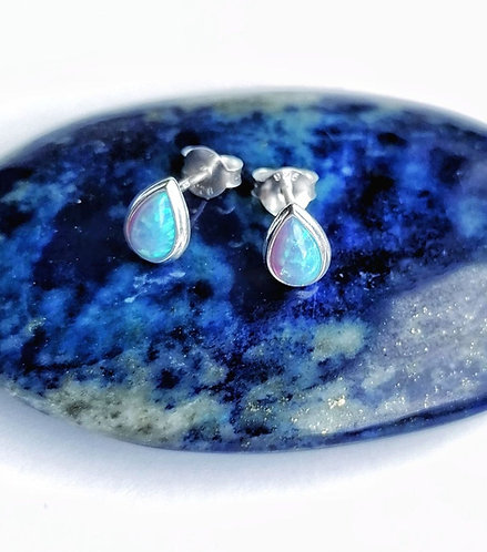 Silver & opalite teardrop studs