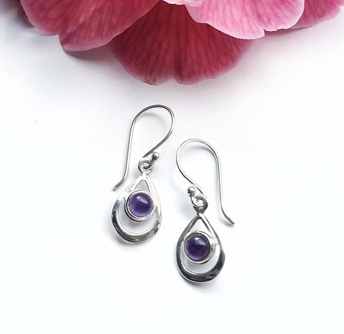 Silver & Amethyst droplet earrings