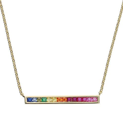 Silver & gold vermeil rainbow bar necklace
