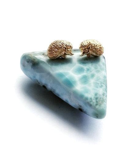 Silver & gold vermeil hedgehog stud earrings