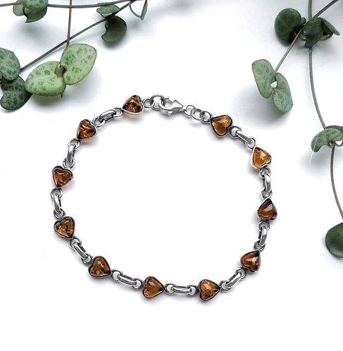 Silver & amber heart bracelet