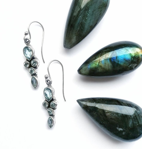 Silver & blue topaz drop earrings