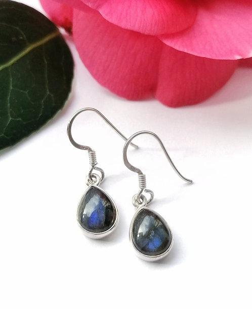 Silver labradorite teardrop earrings