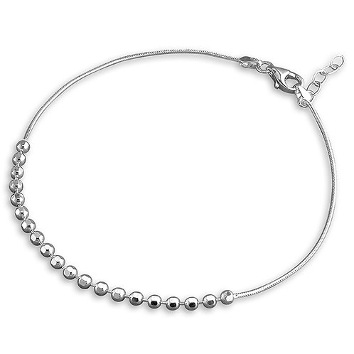 Silver faceted bead anklet