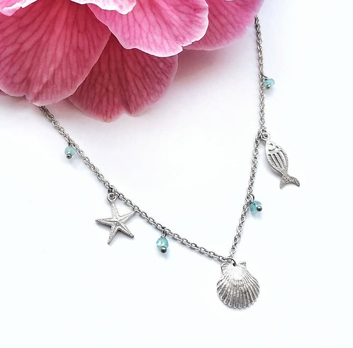Silver under the sea necklace with blue apatite crystals