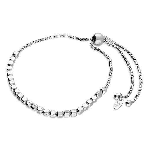 Silver rounded cube slider bracelet