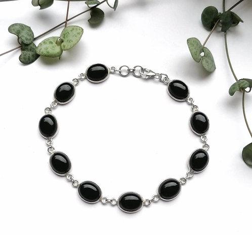 Silver & black onyx cabochon bracelet