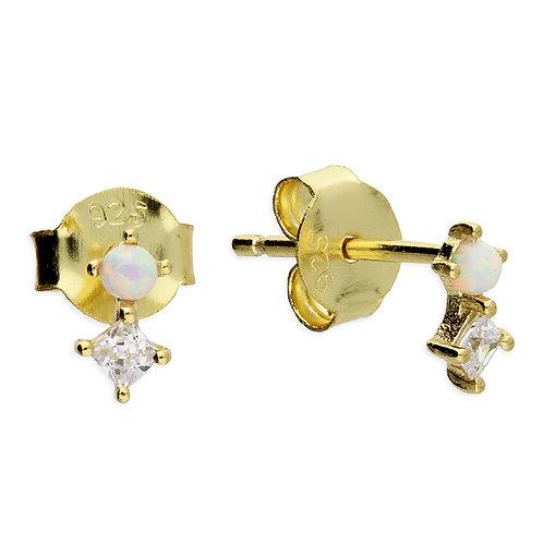 Silver & gold vermeil crystal opalite studs