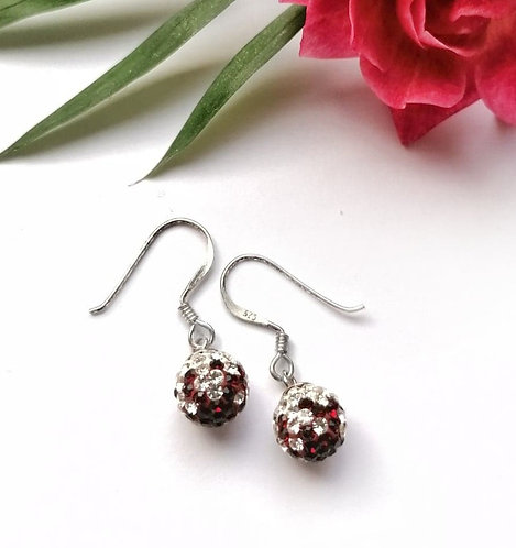 Silver sparkling cascade red crystal ball earrings