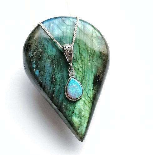 Silver & opalite teardrop detail necklace