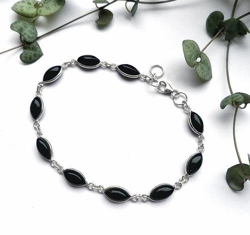 Silver & black onyx oval bracelet