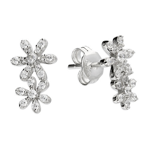 Silver double crystal floral studs