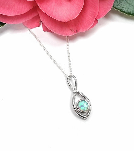 Silver & Opalite infinity twist necklace