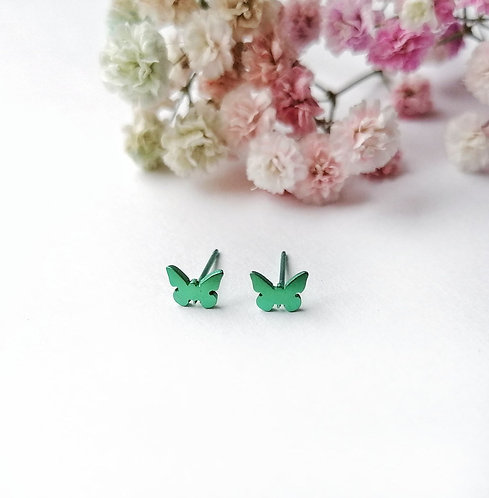 Titanium mini green butterfly stud earrings