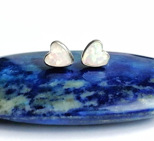 Silver & white opalite heart stud earrings