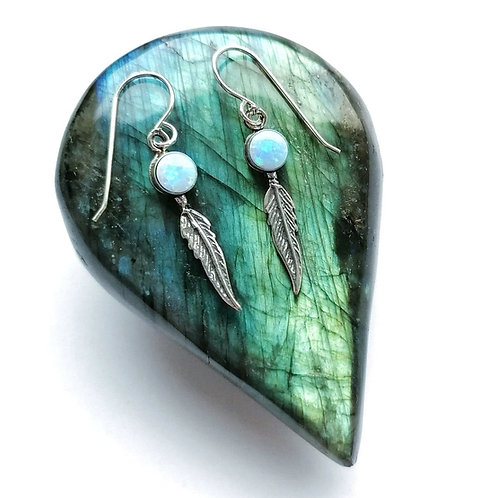 Silver & opalite feather earrings