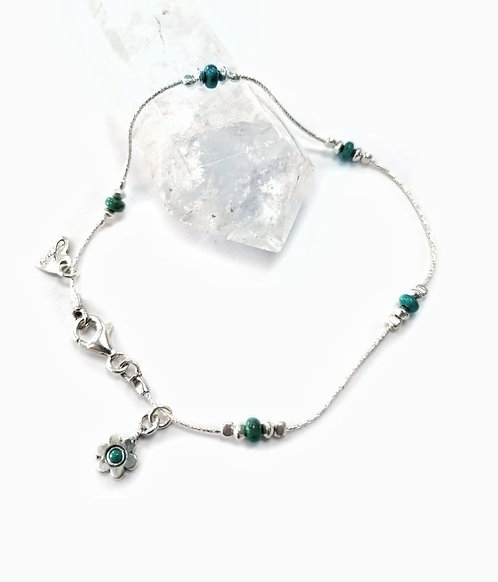 Luxury silver & Turquoise anklet with daisy detail