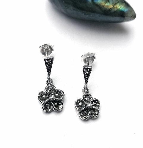 Silver & marcasite flower stud drop earrings