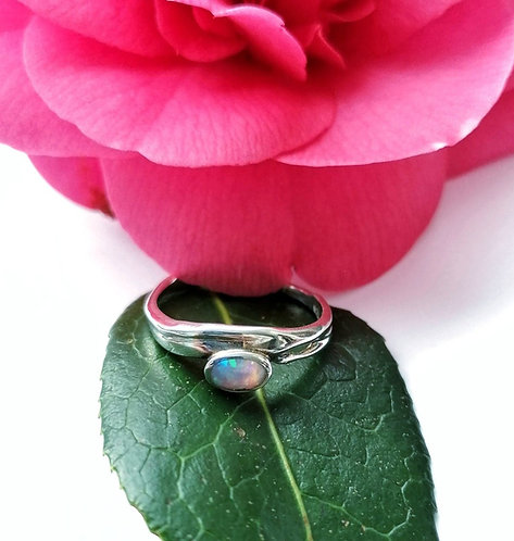 Silver & opalite oval ring - Size N